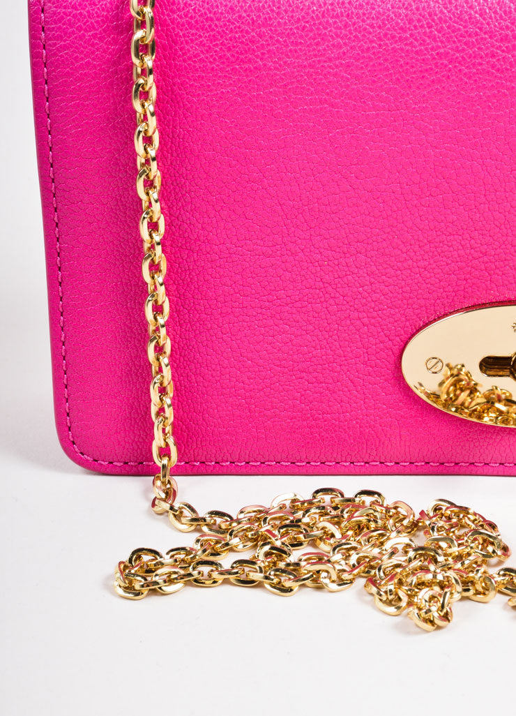 "Mulberry Pink Leather Chain Strap ""Bayswater"" Convertible Shoulder Bag Detail 2"