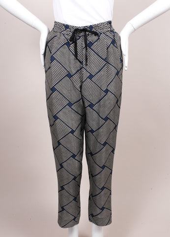 Odeeh New With Tags Blue, Black, and White Stripe Print Silk Lounge Pants Frontview
