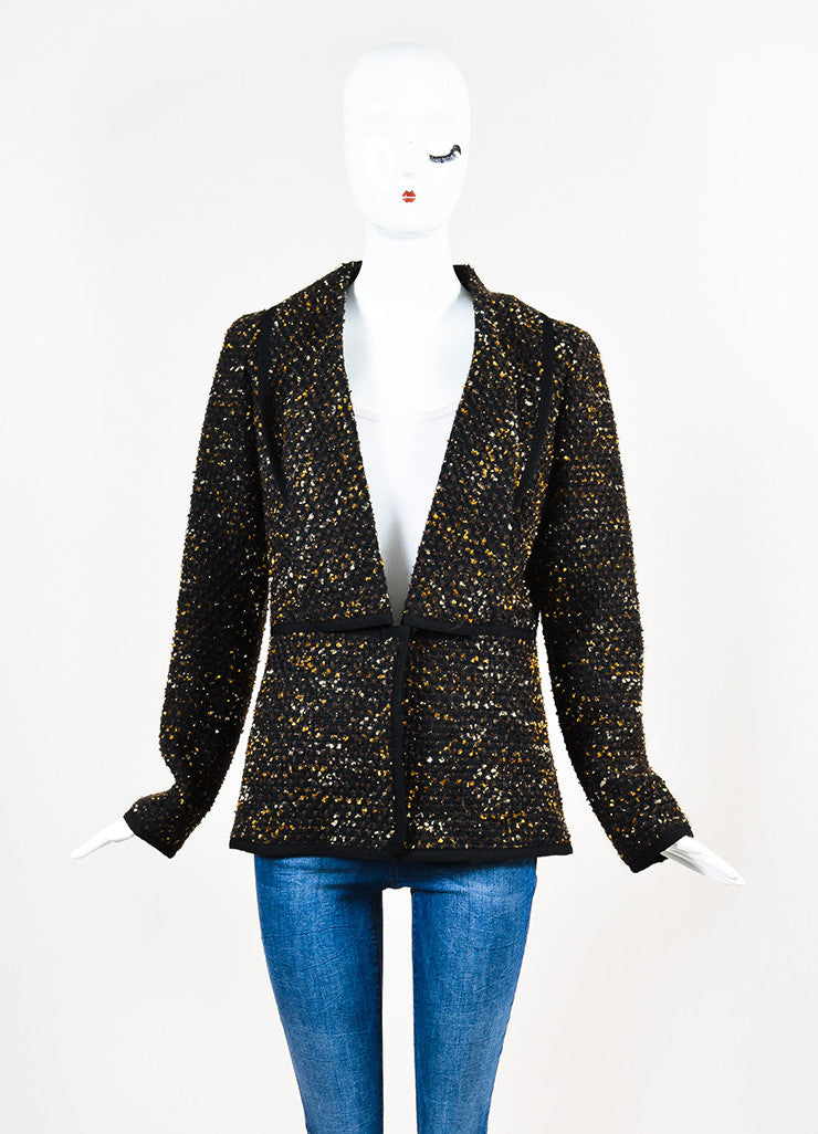 Black, Brown and Gold Oscar de la Renta Woven Tweed Jacket Front 2