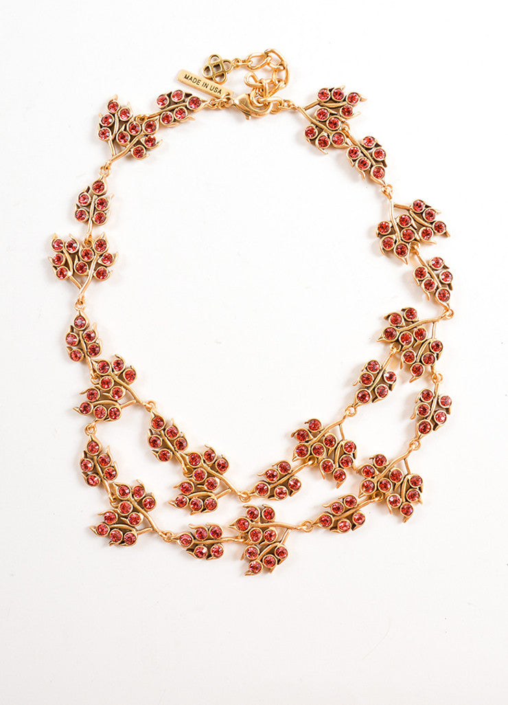 Oscar de la Renta Gold Toned and Pink Rhinestone Embellished Leaf Link Necklace Frontview