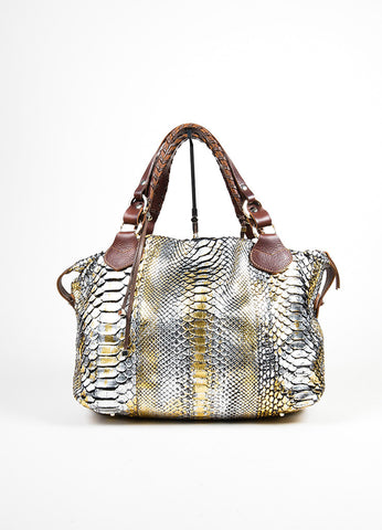 Brown, Silver, Gold Metallic Pauric Sweeney Python Bag Frontview