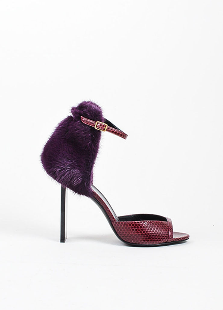 Burgundy and Purple Pierre Hardy Snakeskin and Mink Fur Ankle Sandals Sideview