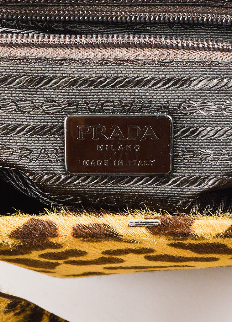 Prada Brown Tan Prada Leopard Print Pony Hair Top Handle Frame Bag Brand