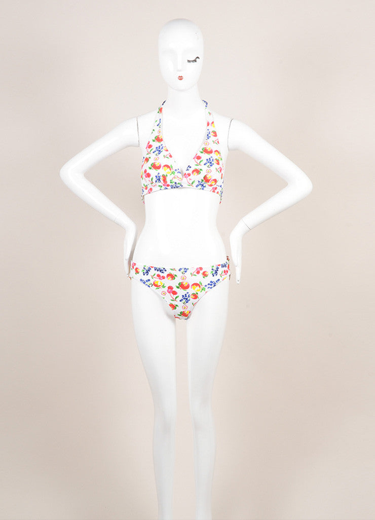 Pret a Surf New With Tags White and Multicolor Fruit Print Classic Bikini Frontview