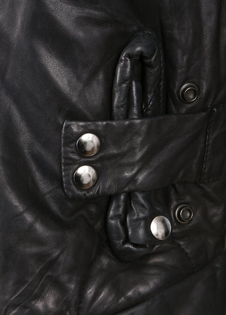 Rick Owens Black Leather Zip Jacket Detail