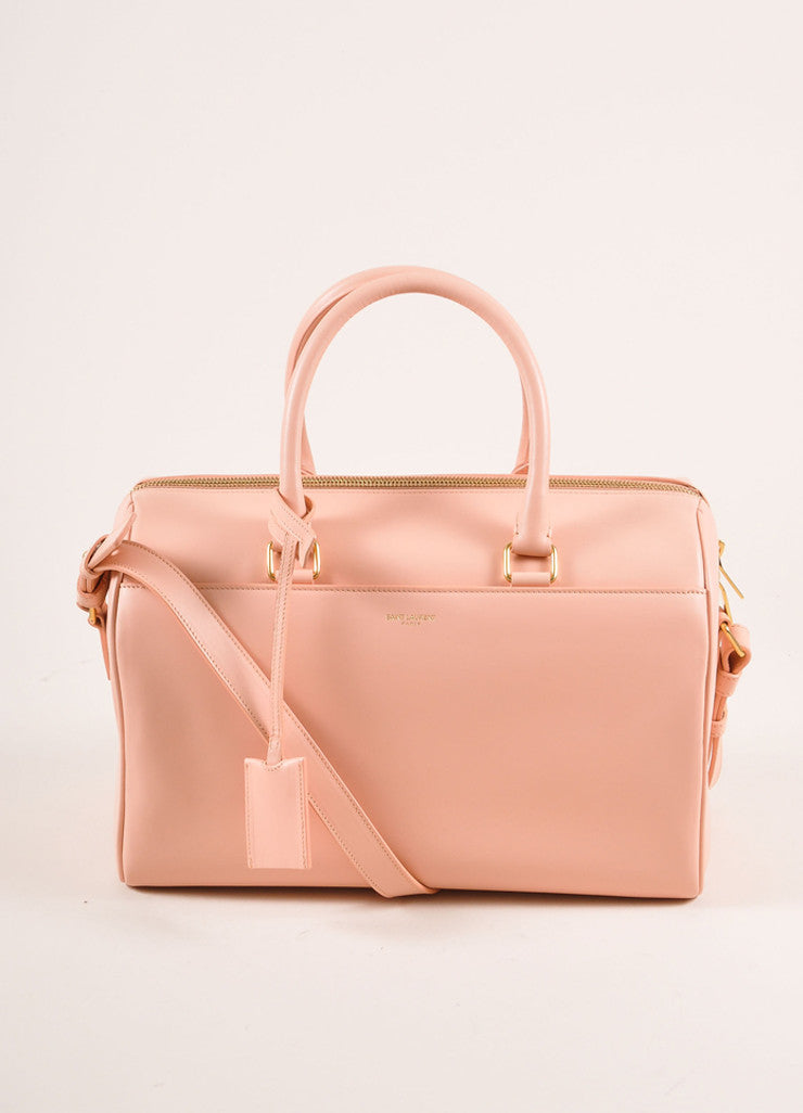 "Saint Laurent New With Tags Light Pink Leather ""Classic Duffle 6"" Handbag Frontview"