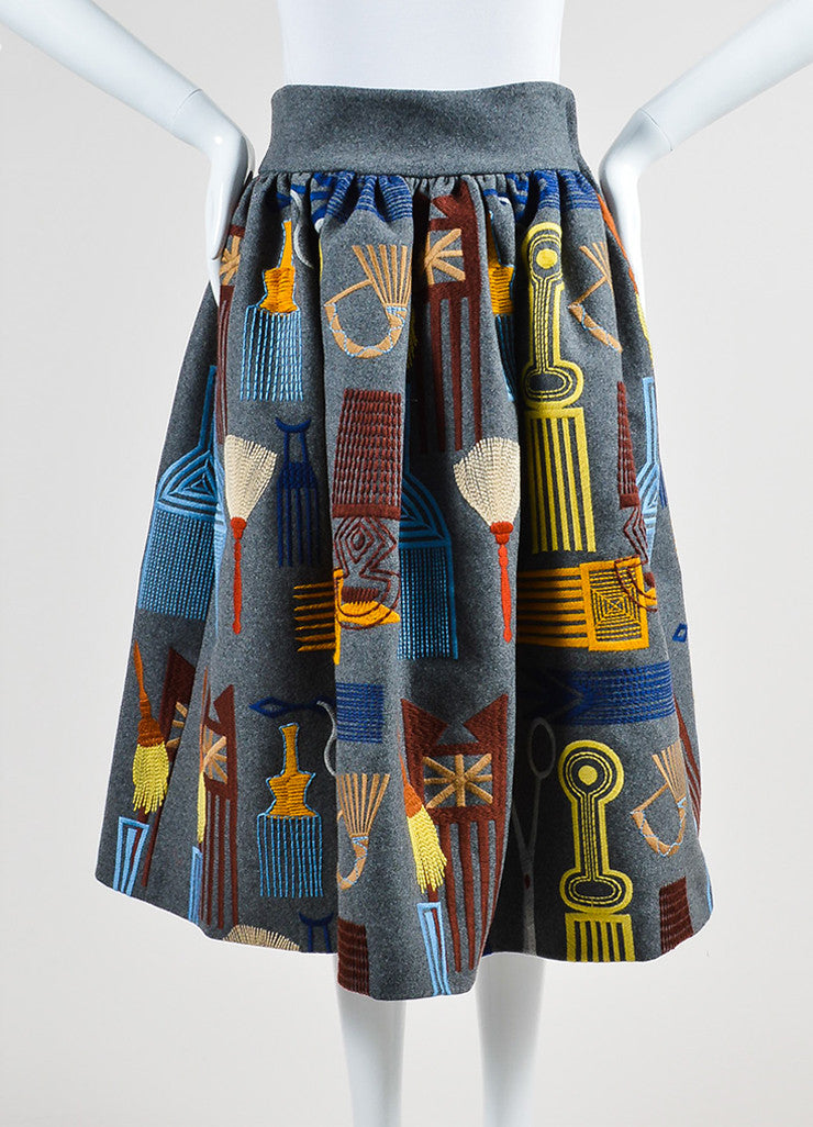 "Grey and Multicolor Stella Jean Wool Embroidered ""Lancaster"" Skirt Frontview"