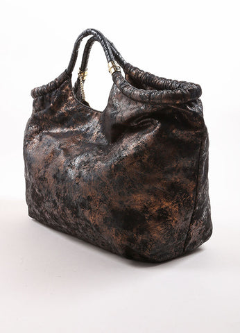 Stella McCartney Black and Bronze Faux Cracked Suede Leather Tote Bag Sideview