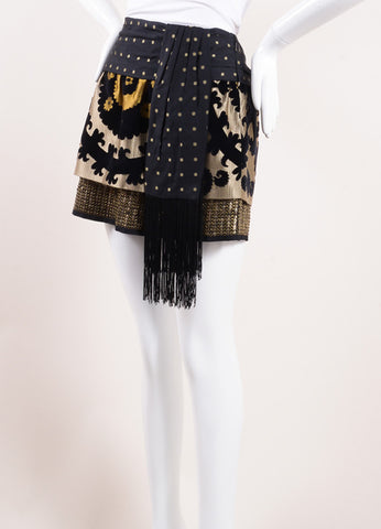 Tom Ford for Gucci Black and Gold Metal Sequin Velvet and Silk Tassel Sash Skirt Sideview