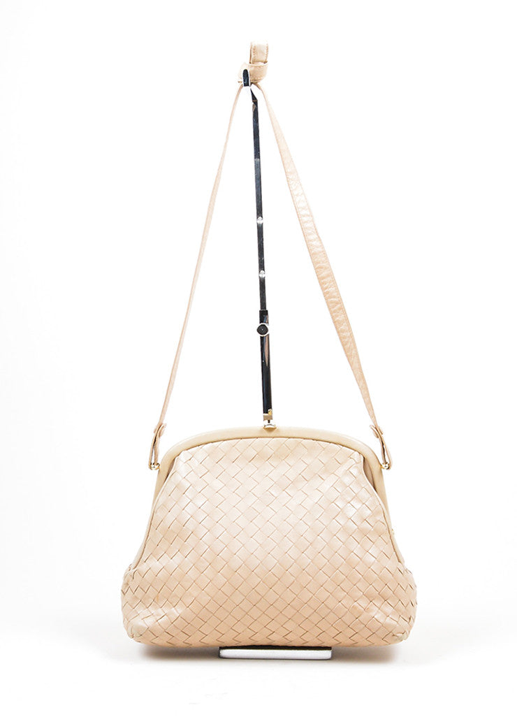 Beige Bottega Veneta Woven Intrecciato Leather Frame Shoulder Bag Frontview