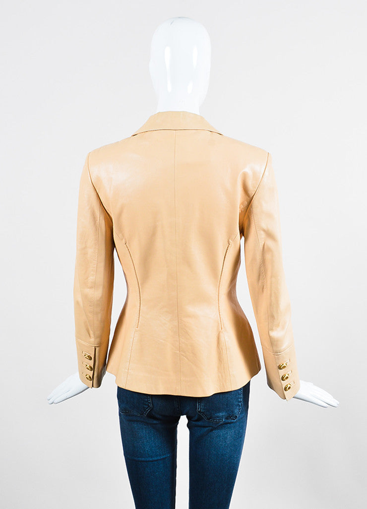 Beige Nude Celine Lambskin Leather Buttoned Blazer Jacket Backview