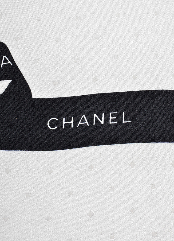 Chanel Cream and Black Textured Silk Bow Print Square Scarf Brand