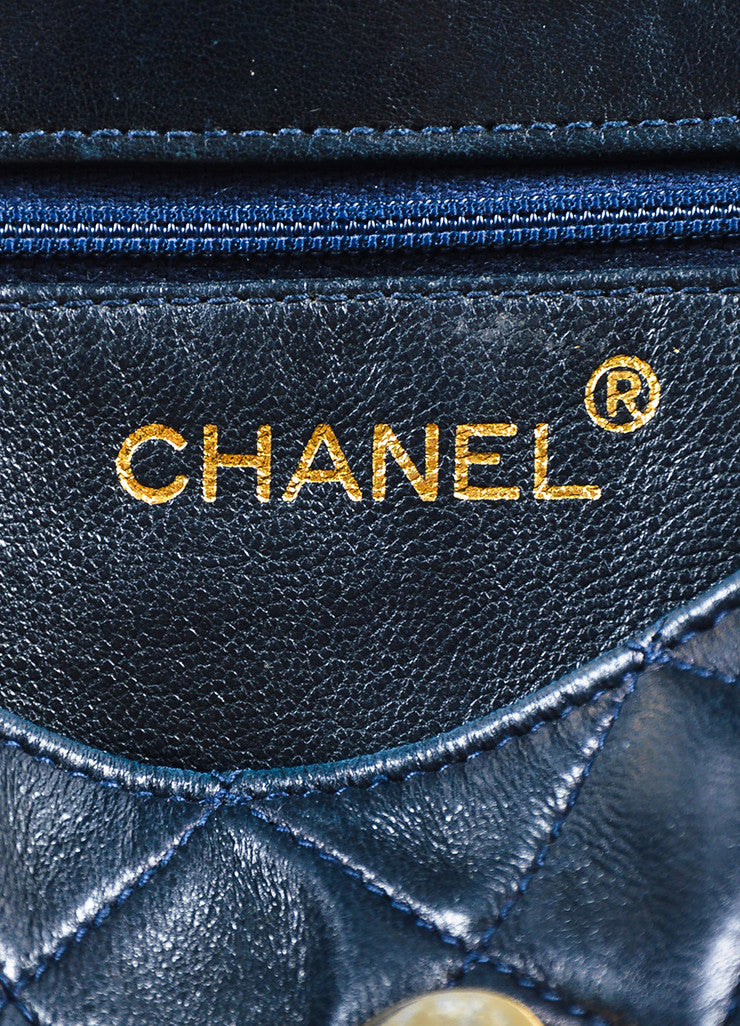 Chanel Navy Blue Leather 'CC' Flap Chain Strap Quilted Tassel Bag Brand