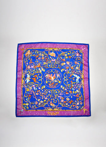 "Multicolor Hermes Bird and Flower ""Pierres d'Orient et d'Occident"" Scarf Frontview 2"
