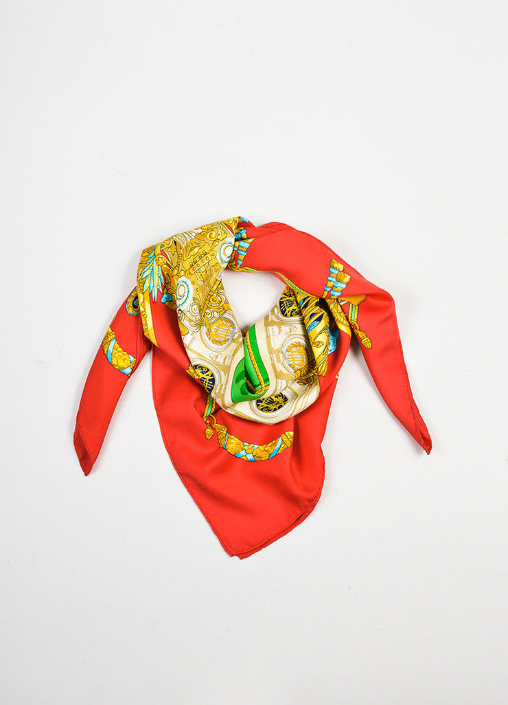 "Red and Gold Hermes Silk ""Architecte De L'Opera De Paris"" Scarf Frontview"