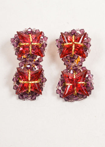 William DeLillo Purple, Red, and Gold Toned Double Star Beaded Earrings Frontview