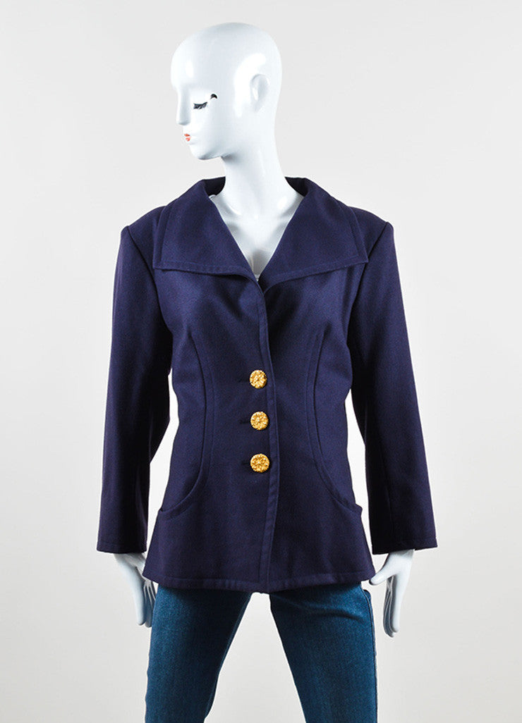 Yves Saint Laurent Navy Wool Jacket and Pencil Skirt Suit Jacket