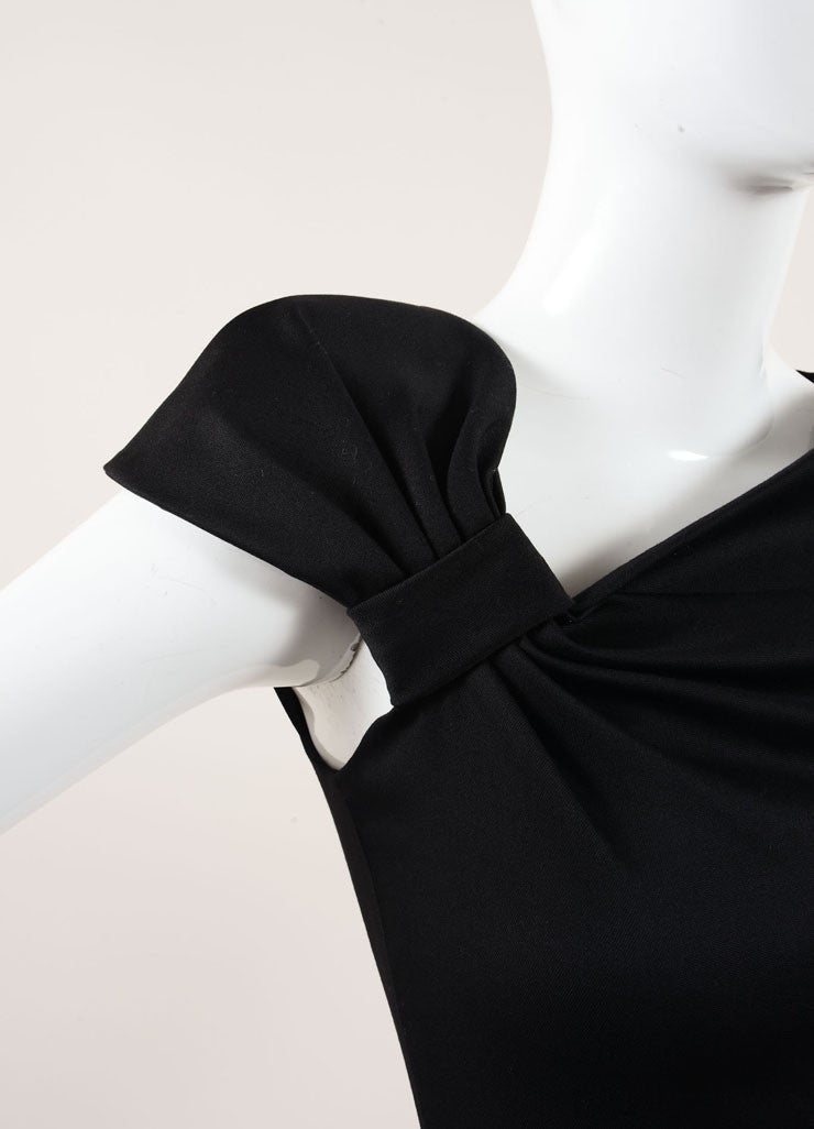 Valentino Black Ruched Bow Cap Shoulder Sheath Dress Detail