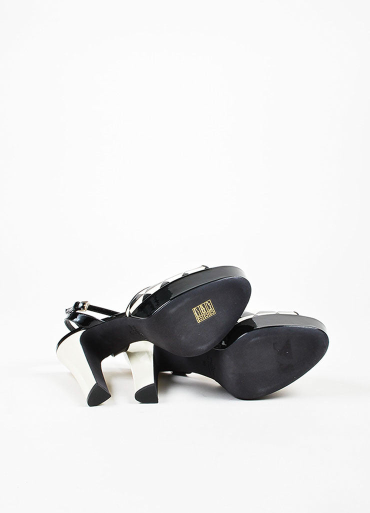 "Black and Cream Valentino Patent Geometric Platform ""Domino"" Sandals Outsoles"