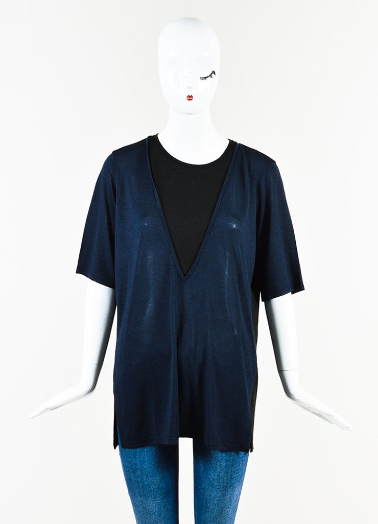 Vince  Navy and Black Semi Sheer Short Sleeve Top Frontview