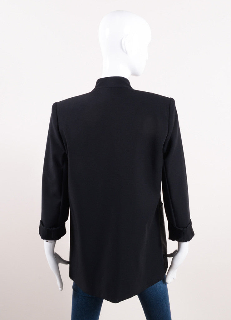 Yigal Azrouel Black Cotton and Leather Tailored Jacket Backview