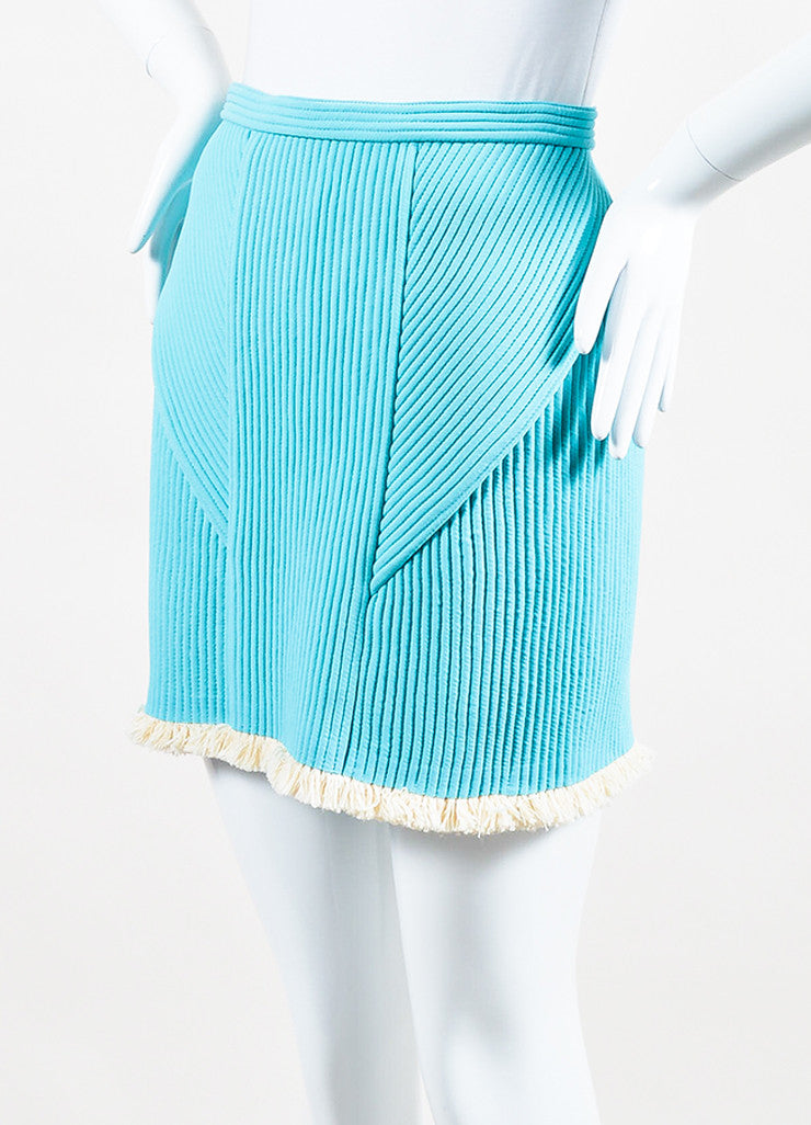 3.1 Phillip Lim Sky Blue and Cream Quilted Fringe Trim Mini Skirt Sideview