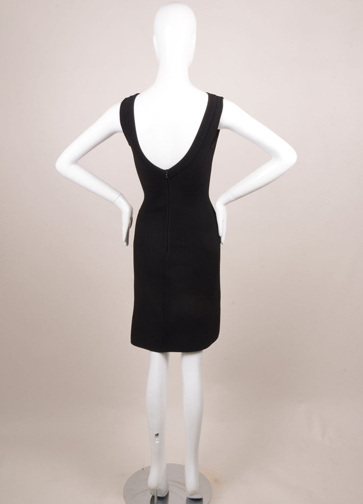 Alaia Black Knit Ribbed Sleeveless Bodycon Dress Backview