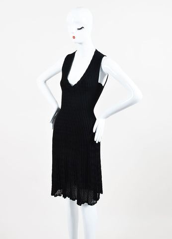 Alaia Black Knit V-Neck A-Line Semi Sheer Sleeveless Dress Sideview