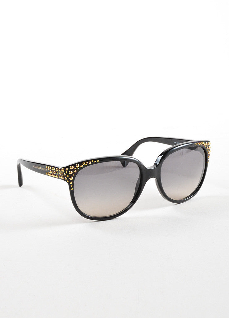 "Alexander McQueen Black and Gold Toned Studded ""AMQ 4212/S"" Sunglasses Sideview"