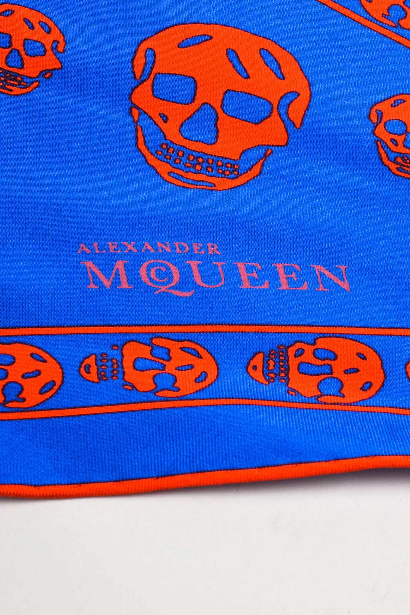 Alexander McQueen Blue and Red Silk Skull Print Diamond Scarf Brand