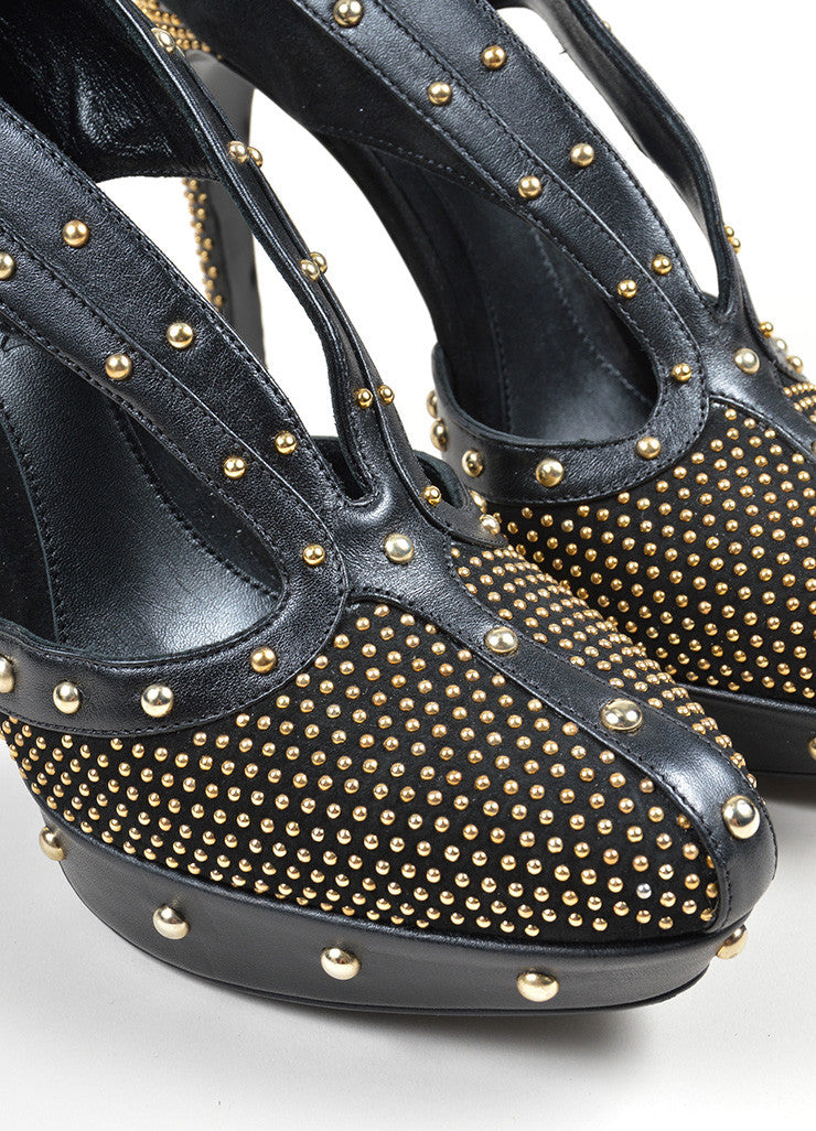 Black and Gold Alexander McQueen Leather Studded Platform Pumps Detail