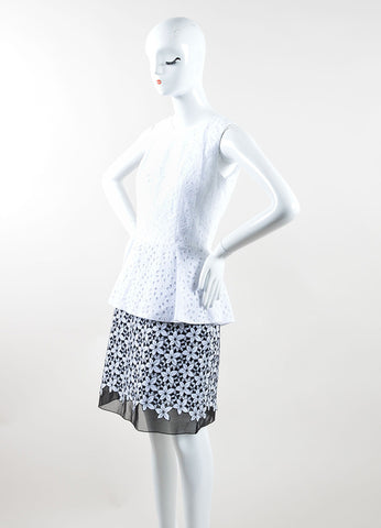 Andrew Gn Black and White Cotton Floral Eyelet Peplum Sheath Dress Sideview