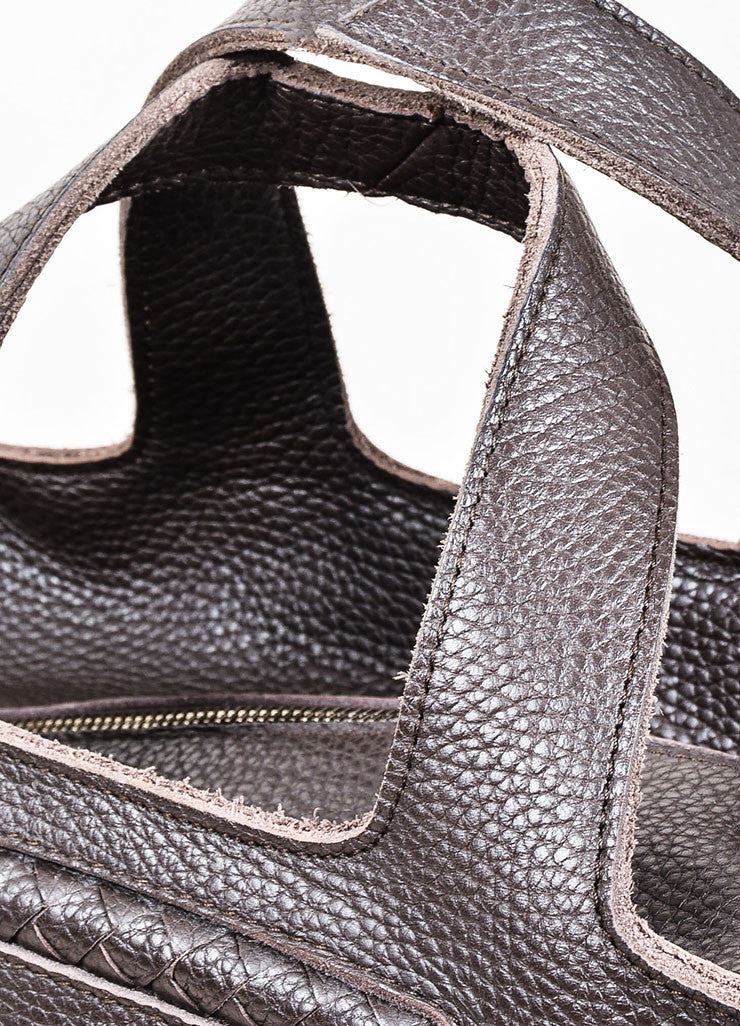 Ebano Brown Bottega Veneta Pebbled Leather Woven Detail Top Handle Zip Tote Bag Detail 2