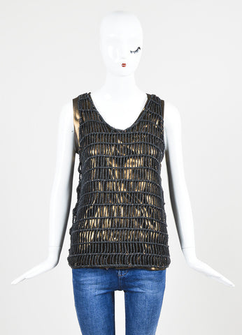 Black and Bronze äó¢íšíóBrunello Cuccinelli Metallic Net Layered Tank Top Frontview
