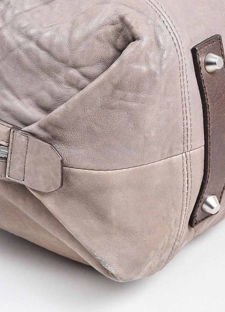 Grey Brunello Cucinelli Leather Expandable Tote Bag Detail