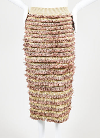 Burberry Prorsum Beige and Pink Knit Tiered Fringe Pencil Skirt Frontview