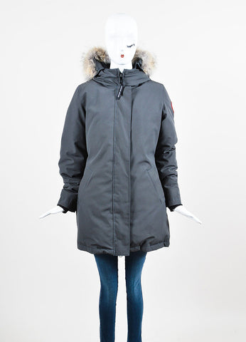 "Canada Goose Graphite Grey Coyote Trim Down Filled ""Victoria"" Parka Frontview 2"