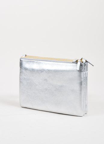 "Silver Celine Metallic Leather ""Large Trio"" Pouch Crossbody Bag Sideview"