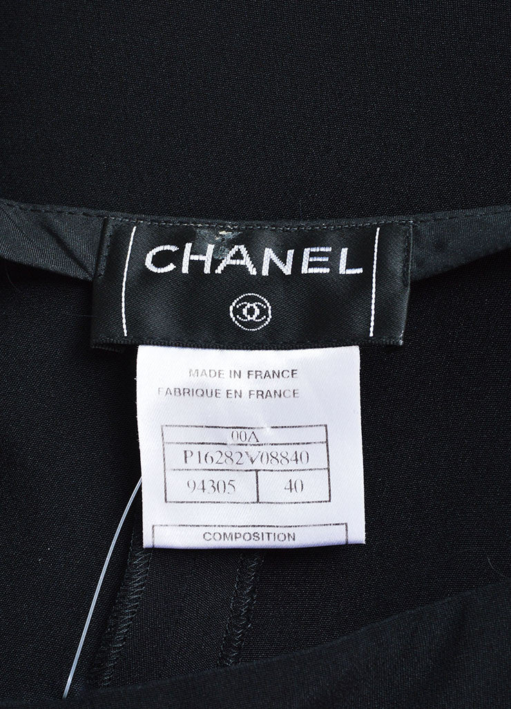 Chanel Black Silk Wide Leg Trouser Pants Brand