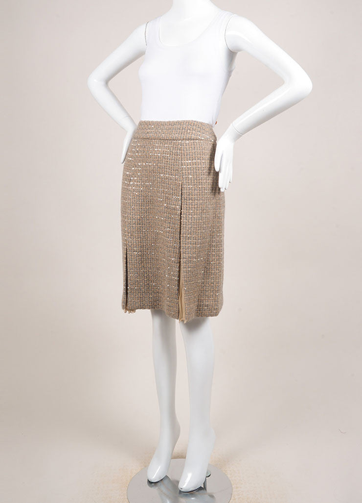 Chanel Tan and Grey Wool Blend and Silk Woven Sequin Embellished Pleated Skirt Sideview