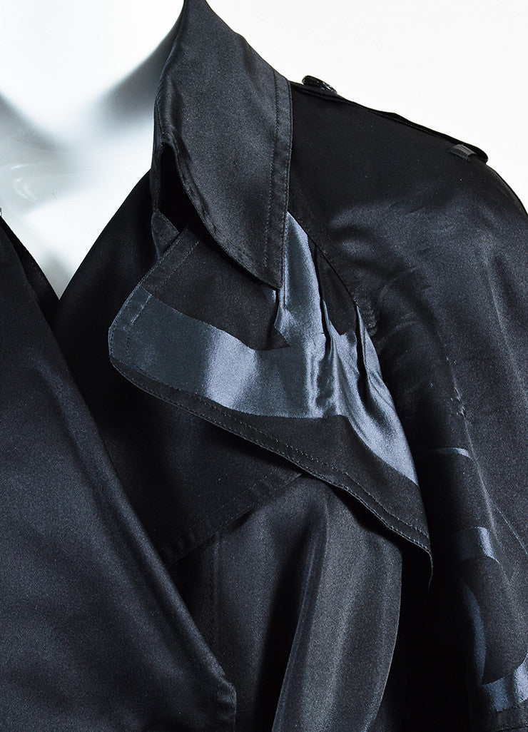 Chanel Black Silk Airbrushed 'CC' Skyline Double Breasted Trench Coat Detail