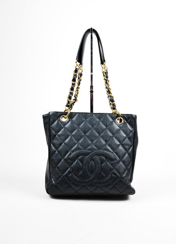 "Black Chanel Caviar Leather Quilted 'CC' Chain Strap ""Petite Shopping"" Tote Bag Frontview"