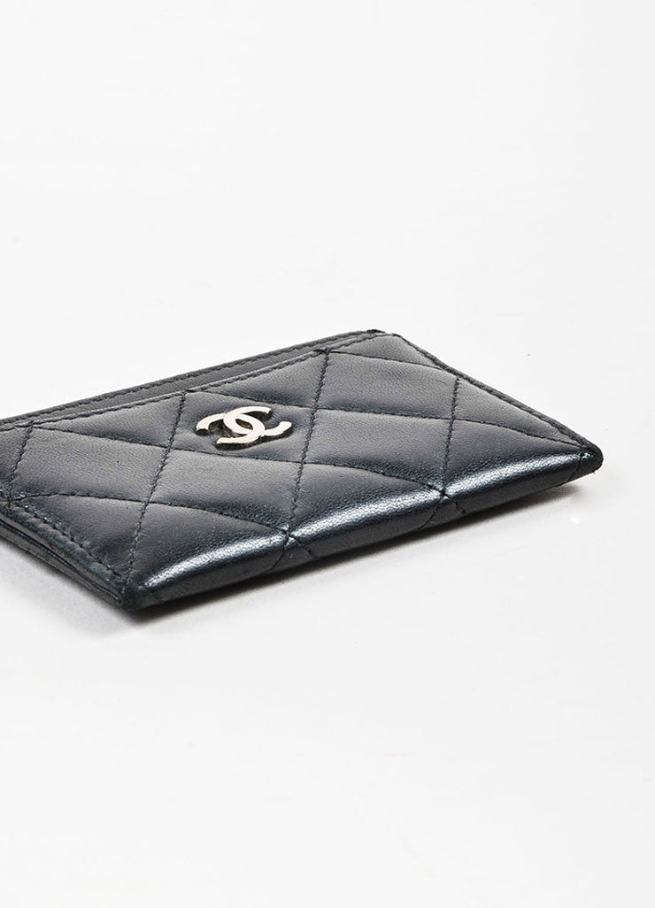 Chanel Black Lambskin Leather Quilted 'CC' Cardholder Bottom View