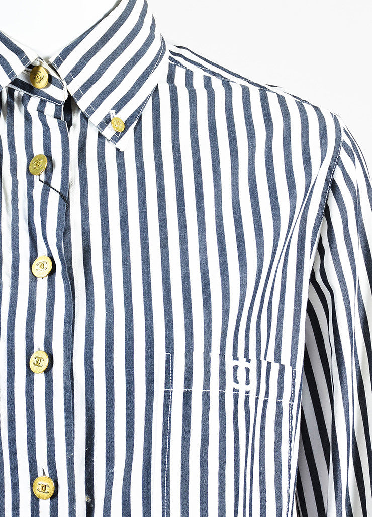 Chanel Black and White Striped Gold Toned 'CC' Button Down Shirt Detail
