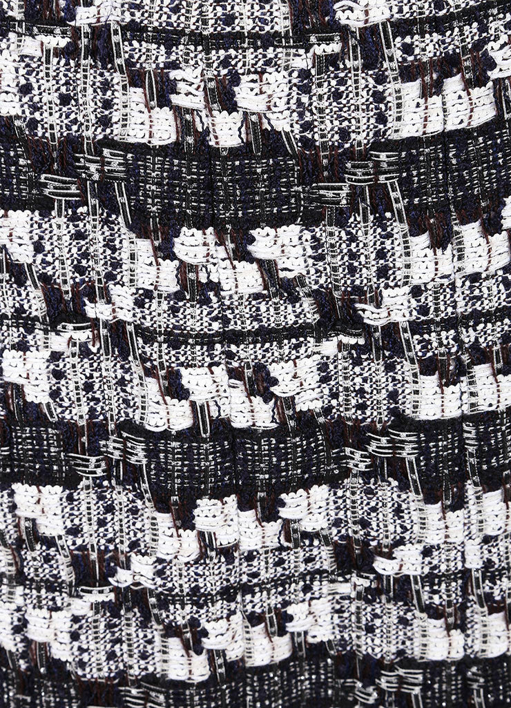Chanel Chanel Black And White Woven Tweed Knit Metallic Fringe Trim A Line Skirt Detail