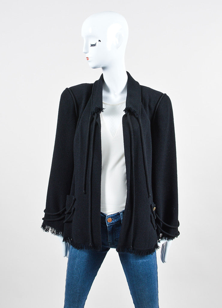 Black Chanel Wool Blend Robe Embellished Fringe Trim Jacket Frontview