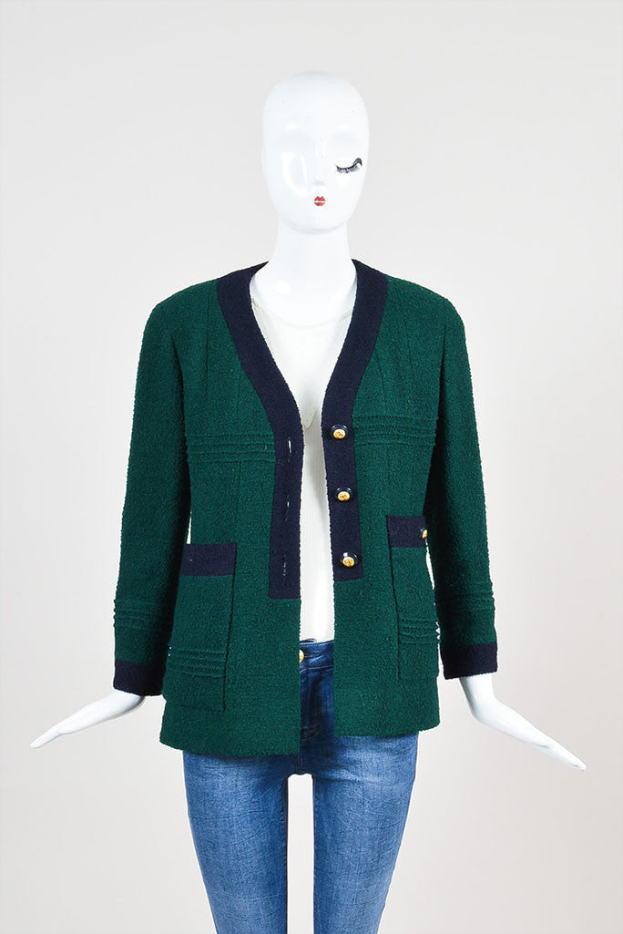 Chanel Forest Green and Navy Boucle Knit Embellished Button Blazer Jacket Frontview