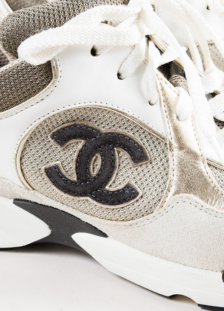 "Chanel Grey, White, and Metallic Gold Leather Suede ""CC"" Sneakers Detail"