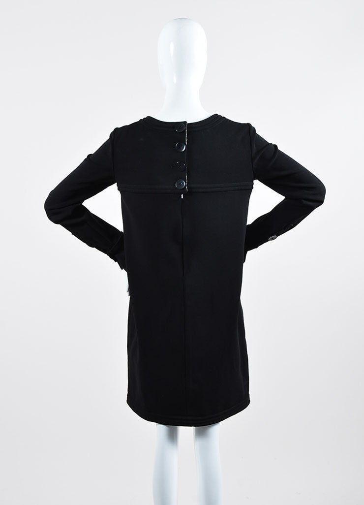Black Chanel Metallic Tweed Lining Long Sleeve Shift Dress Backview