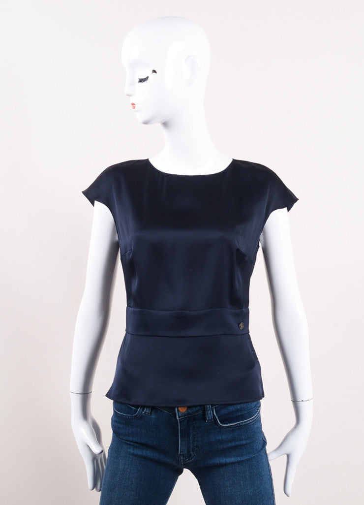 Chanel Navy Blue Silk Satin Peplum Sleeveless Blouse Front View
